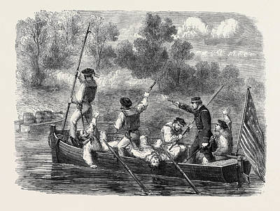 Confederate Flag Drawing - The Civil War In America Confederates Trapping A Boats Crew by English School