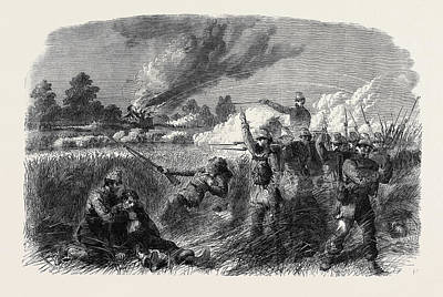 The Civil War In America Fight At Hainsville On The Upper Art Print