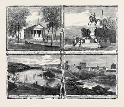 Confederate Monument Drawing - The Civil War In America Sketches From Richmond Virginia by English School