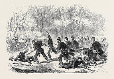 The Civil War In America The Fight At Balls Bluff Upper Art Print by English School