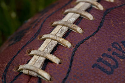 Footballs Closeup Photograph - The Classic Leather Football by David Patterson