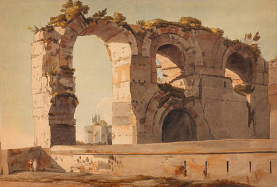 Illustration Painting - The Claudian Aquaduct Rome by Celestial Images