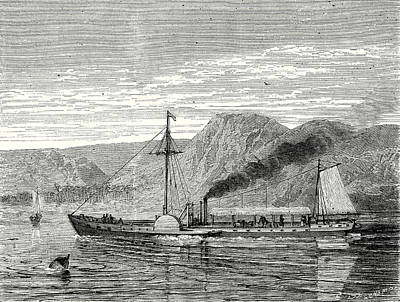 Steamboat Drawing - The Clermont Robert Fultons First Steamboat Sailing by Robert Fulton, American School