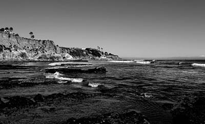 The Cliffs Of Pismo Beach Bw Art Print