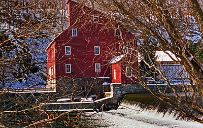Red Barn In Winter Photograph - The Clinton Nj Mill by Skip Willits