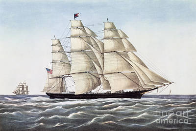 Sailing Drawing - The Clipper Ship Flying Cloud by Anonymous