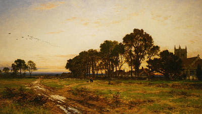 The Close Of Day Worvestershire Meadows Art Print by Benjamin Williams Leader