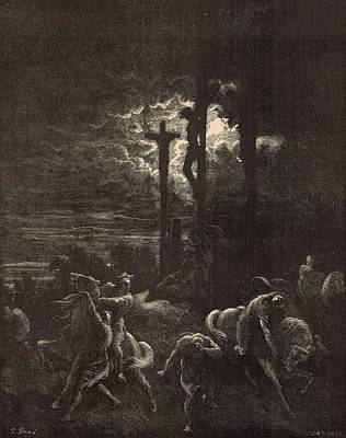 Scriptural Drawing - The Close Of The Crucifixion by Antique Engravings