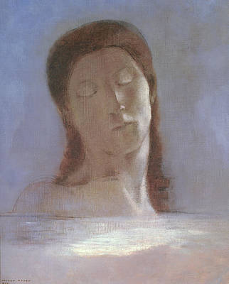 At Peace Painting - The Closed Eyes, 1890 by Odilon Redon