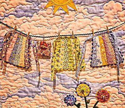 Quilt Blue Blocks Photograph - The Clothes Line by Image Takers Photography LLC - Carol Haddon
