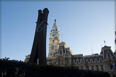 City Hall Digital Art - The Clothes Pin Statue And City Hall - Philadelphia by Bill Cannon