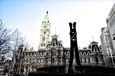 The Clothespin Statue And Philadelphia City Hall Art Print