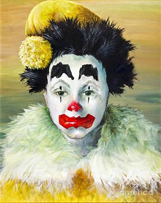 Sad Clown Painting - The Clown By Fran Langer by Sheldon Kralstein