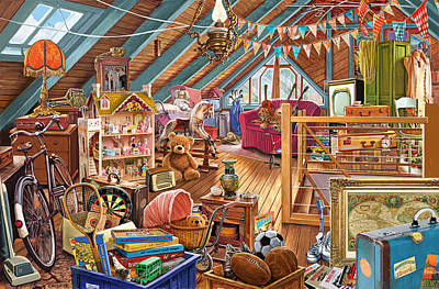 Bunting Painting - The Cluttered Attic  by Steve Crisp