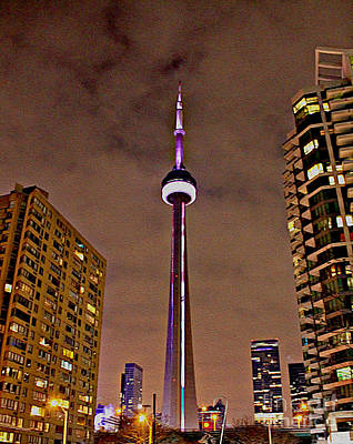 Photograph - The Cn Tower Lit Up In February by Nina Silver