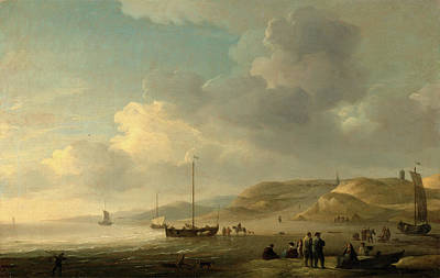 Scheveningen Painting - The Coast Near Scheveningen With Fishing Pinks On The Shore by Litz Collection