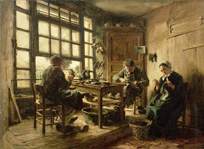 Shoemaker Photograph - The Cobblers, 1880 Oil On Canvas by Leon Augustin Lhermitte