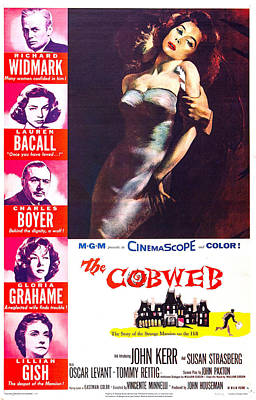 1955 Movies Photograph - The Cobweb, Us Poster, Left From Top by Everett