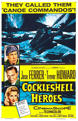 1955 Movies Photograph - The Cockleshell Heroes, Us Poster, Left by Everett