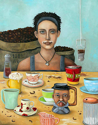 Addict Painting - The Coffee Addict Brighter by Leah Saulnier The Painting Maniac