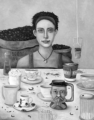 Addict Painting - The Coffee Addict In Bw by Leah Saulnier The Painting Maniac