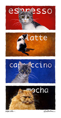 Coffee Painting - The Coffee Cats... by Will Bullas