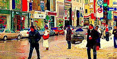 Montreal Winter Scenes Painting - The Coffee Cup Tim Hortons St Catherine Street Boogie Woogie Wintry Walk Slushy City Scene C Spandau by Carole Spandau