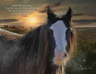 Gypsy Cob Digital Art - The Cold Morning Dew With Verse by Terry Kirkland Cook