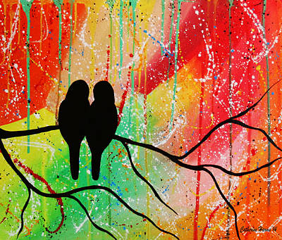Lovebird Painting - The Color Of Love by Catherine Harms