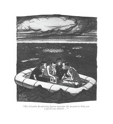 Survive Drawing - The Columbia Broadcasting System Interrupts This by Peter Arno