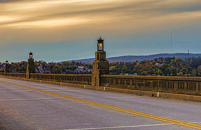 Photograph - The Columbia-wrightsville Bridge At Sunset During Fall by Beth Sawickie