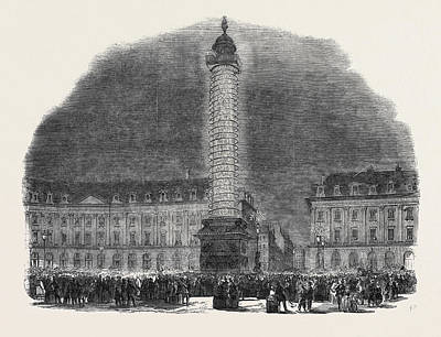 Illuminated Drawing - The Column In The Place Vendome, Illuminated by English School