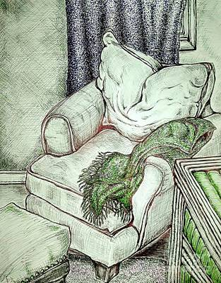 Drawing - The Comfy Corner by Jennie Stewart