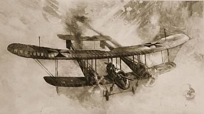 Action Drawing - German Biplane From The First World War by English School