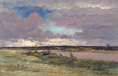 Field Grey Painting - The Coming Storm by Charles Francois Daubigny