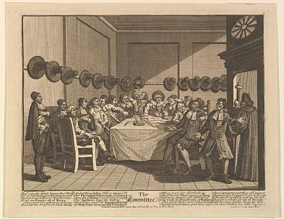 The Committee Twelve Large Art Print by William Hogarth