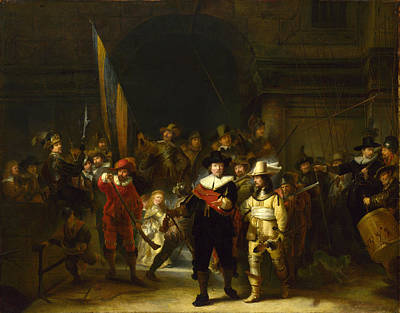 The Company Of Captain Banning Cocq. The Nightwatch  Art Print by Gerrit Lundens