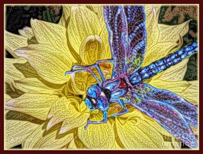 The Blue Dahlia Mixed Media - The Complement Of A Yellow Dahlia Is A Blue Dragonfly by Kimberlee Baxter