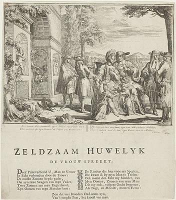 Portal Drawing - The Complicated Marriage, Romeyn De Hooghe by Romeyn De Hooghe And Samuel Sylvius And P. Van Torenburg
