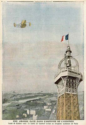 Eiffel Tower Drawing - The Comte De Lambert Circles  The Tower by Mary Evans Picture Library