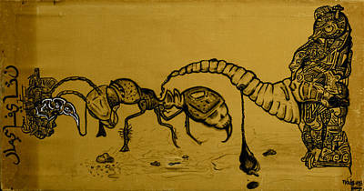 Ant Drawing - The Conception Of Picasso And Dali by Nickolas Kossup