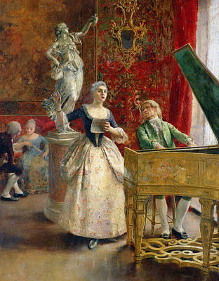 The Music Lesson Painting - The Concert by Luis Jimenez y Aranda