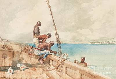 Bare-chested Painting - The Conch Divers by Winslow Homer