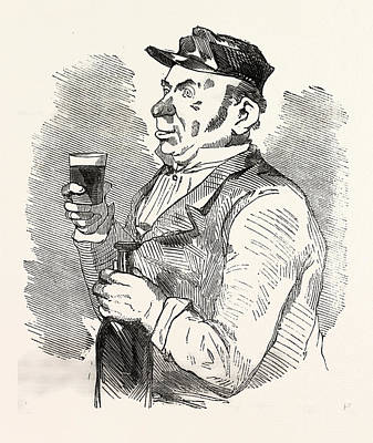 Cartoonist Drawing - The Concierge Of The Roche-noire Castle Drinking by French School