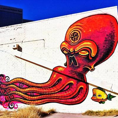 Octopus Wall Art - Photograph - The Concrete Desert Brings The by AZ Street Art