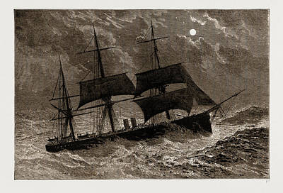 Cruiser Drawing - The Condemned Cruiser H.m.s. Bacchante In A Gale by Litz Collection