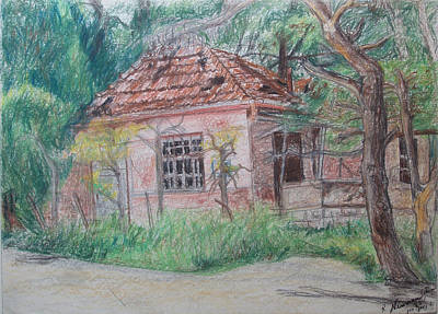 Drawing - The Condemned House In Talpiot Jerusalem by Esther Newman-Cohen