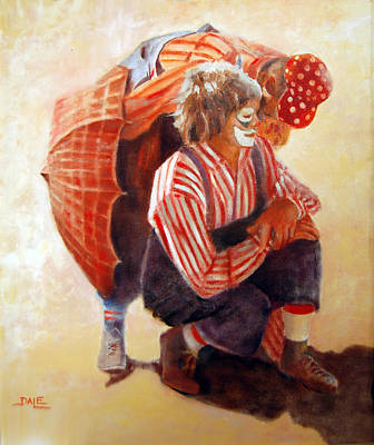 Rodeo Clown Painting - The Conference by Dale Estka