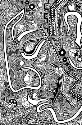 Sharpie Art Drawing - The Confrontation by The Art Of Rido