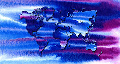 Colourful Painting - The Congregation World Map by Hakon Soreide